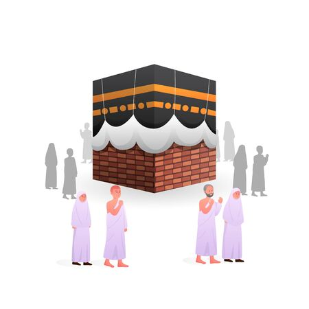 Islamic Pilgrimage People during Tawaf, One of part hajj and umrah ritual, arounding Kaaba Illustration  イラスト・ベクター素材