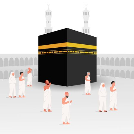 People Around Kaaba, Part of Hajj Islamic Pilgrimage Illustration