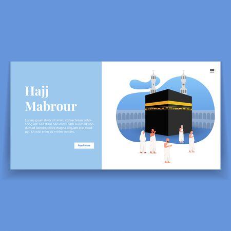 Hajj Mabrour Illustration Landing Page Vetores
