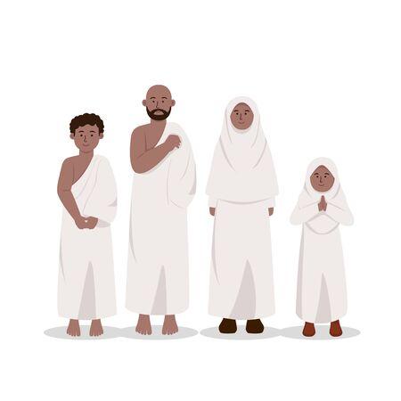 Set of African Muslim Ethnics Wearing Ihram, Hajj Dress Cartoon Illustration