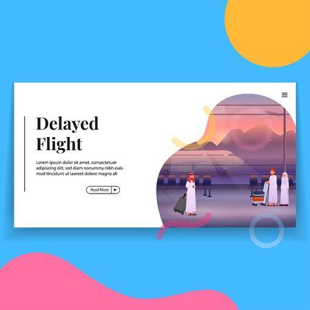 Delay Flight in Airport Illustration Landing Page Vectores