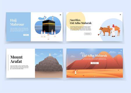 Set of Hajj and Eid Adha Landing Page UI Illustration Vetores