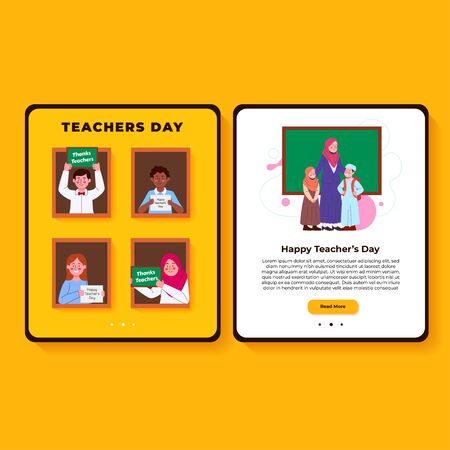 Teachers Day Interface Illustration for App Landing Page Stock Illustratie