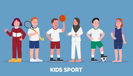 Set Character Illustration Kids Sport Hobbies in School Cartoon Vettoriali