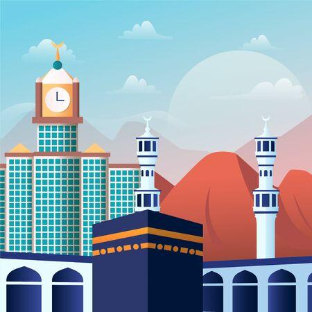 Illustration Environment of Around Kaaba Masjid-al-Haram Mosque Mecca