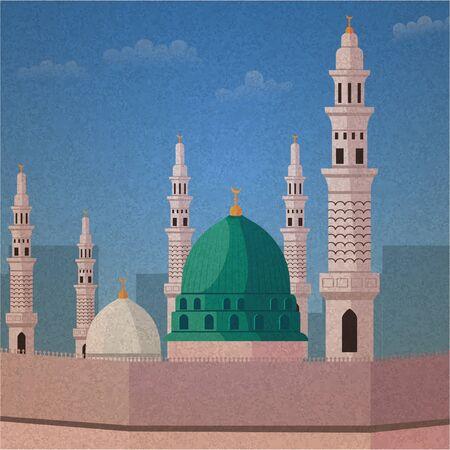 Nabawi Mosque Green Dome in Medina Vintage Illustration Vector Illustration