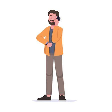 Young Man Bored Waiting, Calling Someone Flat Vector Cartoon Standard-Bild - 135467042