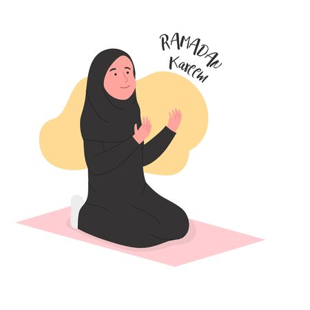 Ramadan Kareem Arabian Woman Praying Illustration