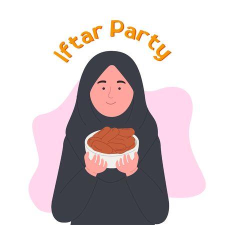 Iftar Party Ramadan Kareem Arabian Woman Holding Dates Fruit Bowl Cartoon Illustration