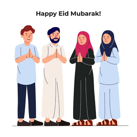 Set Group of Young Muslim Man and Woman Together Greeting Eid Mubarak Illustration
