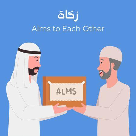 Arabian Man Giving Zakat or Alms