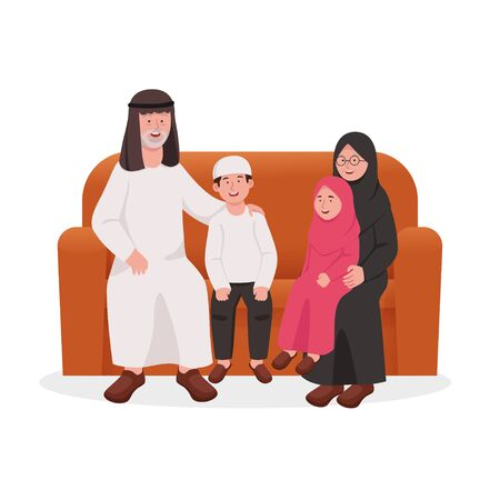 Happy Grandparents Sitting Together on Sofa With Grandchilds Cartoon Illustration
