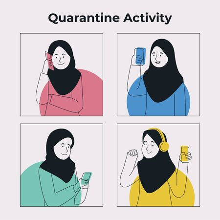 Group of Hijab Girl Activity With Gadget in Quarantine Flat Illustration Cartoon Ilustrace