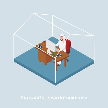 Arabian Man Works From Home. Isometric Illustration Ilustrace