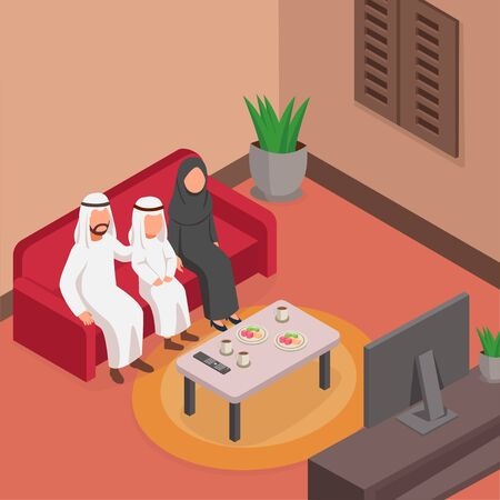Happy Arabian Family Watching TV Together On Sofa, Isometric Illustration Ilustrace