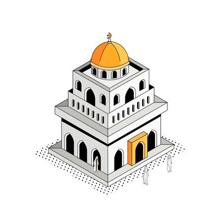 Golden Dome Mosque Isometric Outline Illustration Ilustrace