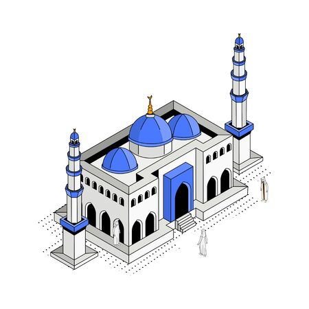 Blue Dome Mosque Isometric Vector Illustation