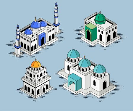 Set Mosque Building Isometric Vector Illustration