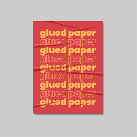 Glued Paper Poster Mockup Realistic Vector Vectores