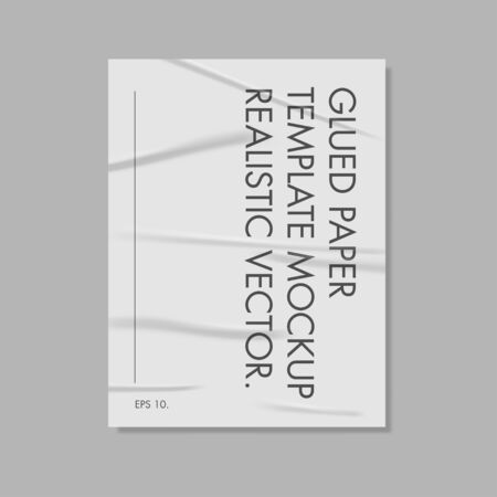 Glued Paper Template Mockup Realistic Vector