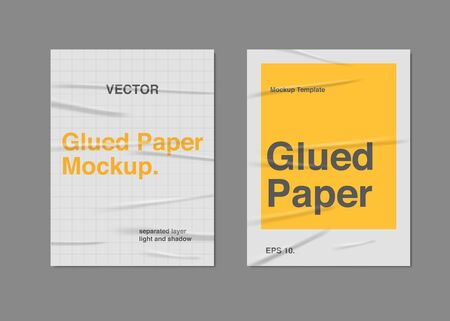 Set Realistic Glued Paper Poster Mockup Template Vector