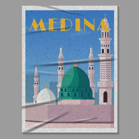Medina City Nabawi Mosque illustrated retro poster in glued paper vector