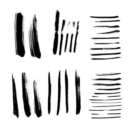 Black flatted vector paint brush stroke ink texture Ilustrace