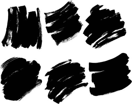 Brush Paint Stroke Set Vector Black Ink Background