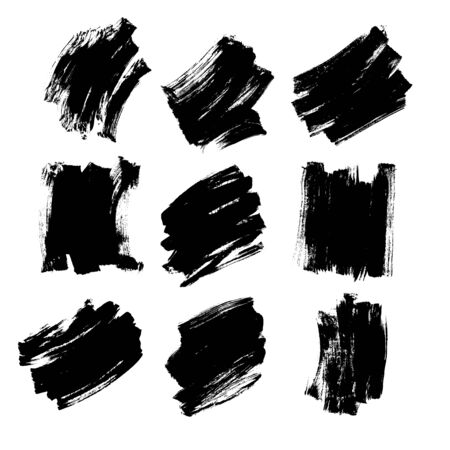 Set black brush strokes ink collection vector template background