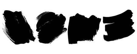Set Black Brush Texture Ink Background Grunge Effect Flat Vector Ilustrace