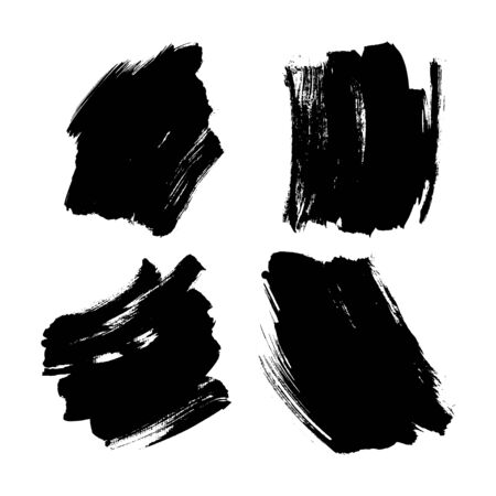 Set Black Coloured Brush Stroke Texture Ink Vector