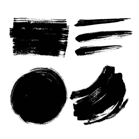 Set black ink brush paint grunge texture effect flat vector