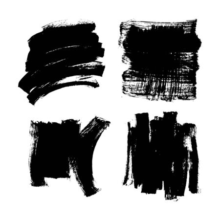 Set black ink paint vector brush texture Ilustrace