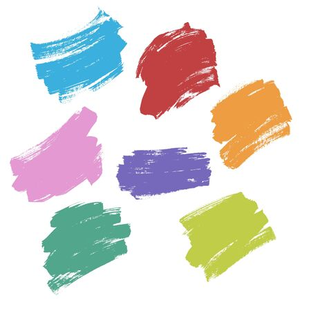Set Colorful Brush Stroke Texture Vector