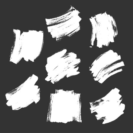 Set White Brush Strokes Texture in Dark Background Flat Vector Ilustrace