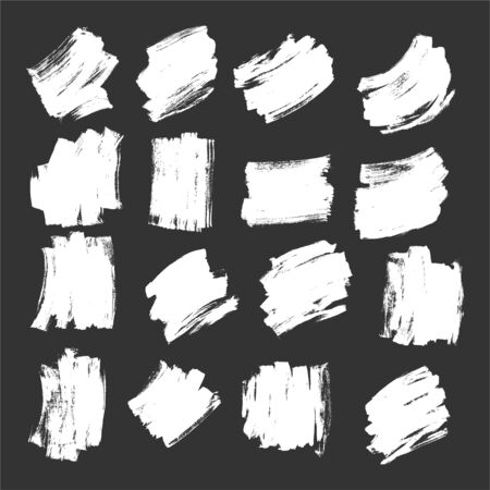 White Brush Strokes Grunge Effect Texture Vector Set