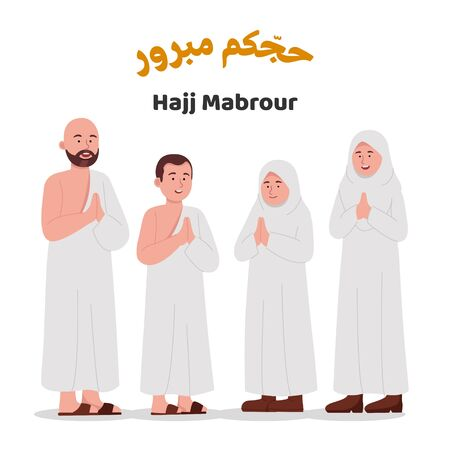 Set Muslim Family Wearing Ihram Greeting Hajj Mabrour Illustration