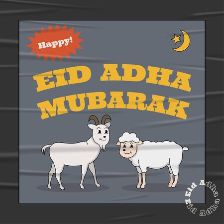 Eid Adha Mubarak Vintage Poster 30s Cartoon Style on Glued Paper