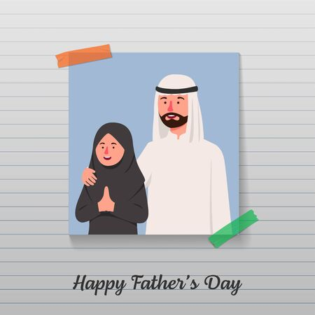 Happy Father's Day, Father and Daughter Photos in Paper Illustration