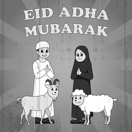 Eid Adha Mubarak Old Style 30s Cartoon Vintage Arabian Kids With Animal Illustration