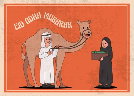 Eid Adha Mubarak Vintage Old Cartoon 30s Style Arabian Kids With Camel