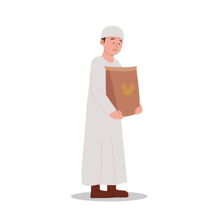 Arabian kid carrying a sack of rice, feels heavy expression cartoon Ilustrace