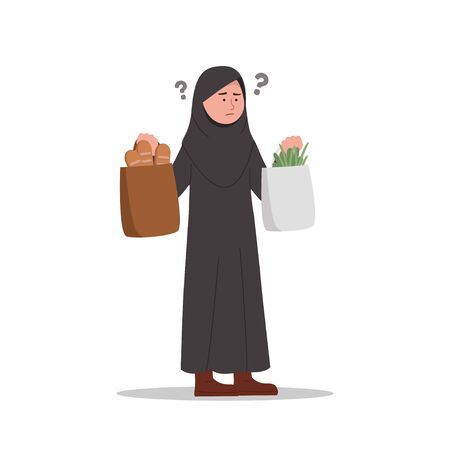 Confused or Forget Expressions Arabian Little Girl After Shopping Cartoon