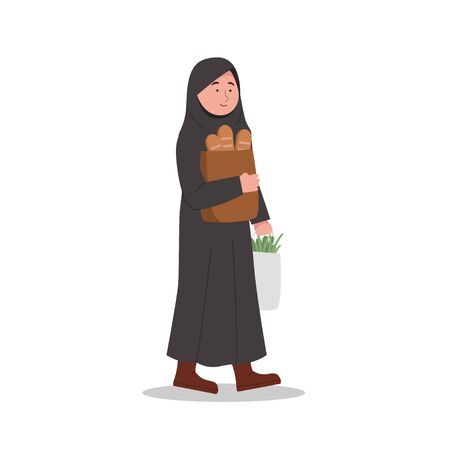 Happy Arabian Girl Carrying Groceries After Shopping Cartoon Illustration Ilustrace