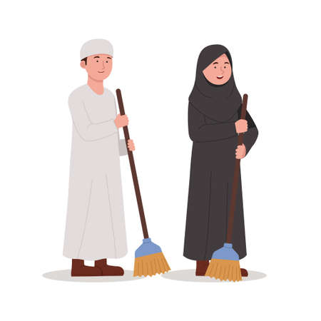 arabian kids carrying broom for cleaning cartoon illustration Ilustrace