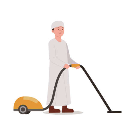 Arabian Kids With Vacuum Cleaner, Cleaning Home Illustration Cartoon Ilustrace