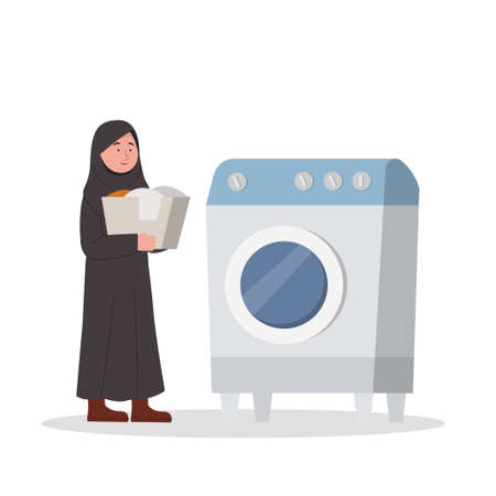 Arabian Little Girl bring the laundry to the washing machine Cartoon