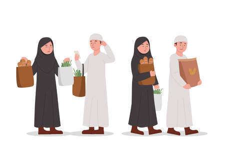 Cute Arabian Kids Shopping Together Cartoon Illustration