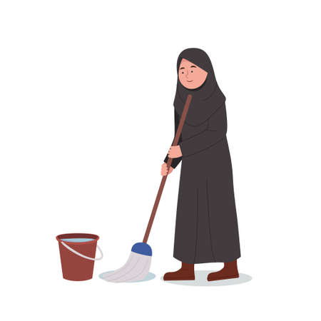Cute Little Arabian Girl Mopping Floor Cleaning Home Cartoon Illustration