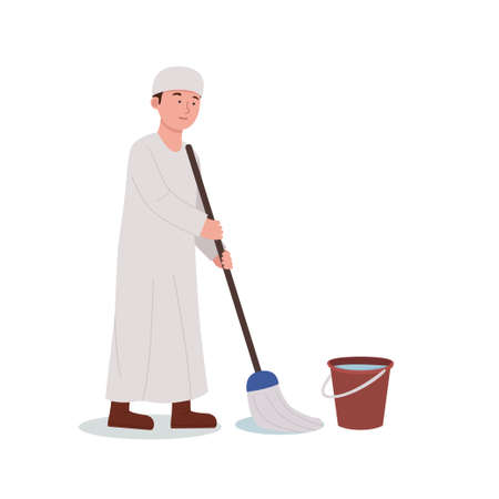 Illustration Arabian Boy Mopping Floor Cleaning Home Cartoon